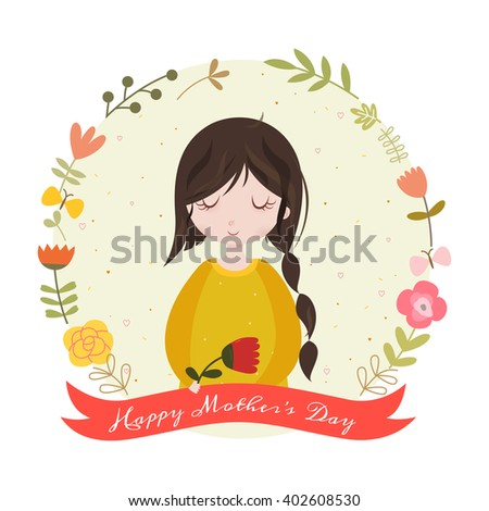 Happy mothers day card with adorable cartoon girl and flowers. - stock vector