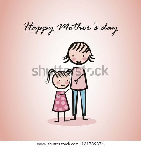 happy mothers day card with cartoons. vector illustration