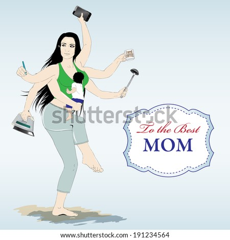 Happy mothers day card with Multitasking super mother - stock vector