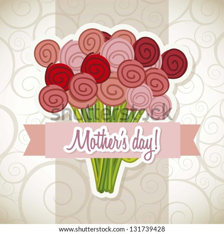 happy mothers day card with roses. vector illustration - stock vector