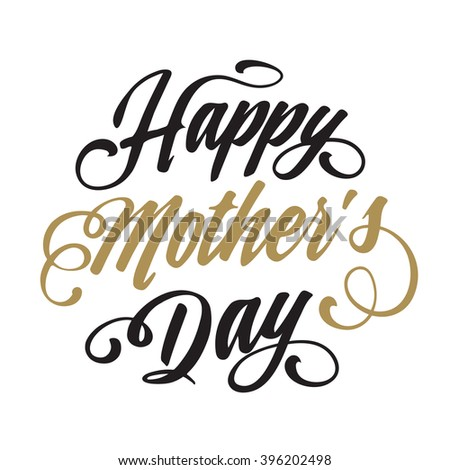 Happy Mothers Day Hand drawn Lettering card background. Vector illustration  - stock vector