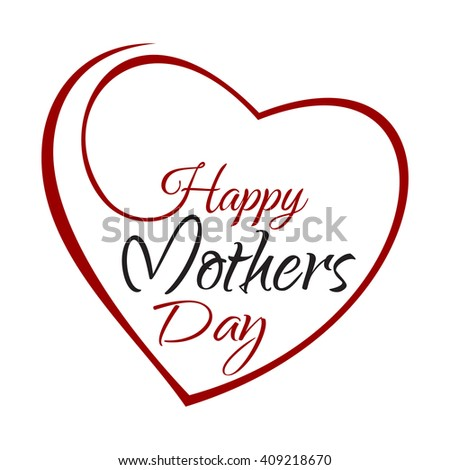 Happy Mothers Day. Hand lettering on the background framework of hearts. Vector greeting inscription with the Mother Day - stock vector