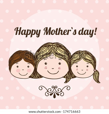 happy mothers day over dotted  background vector illustration