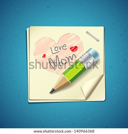 Happy Mothers Day paper note, vector illustration - stock vector