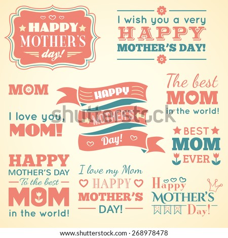 Happy Mothers day. Set of cute elements. Vector illustration for holiday design. Badges, logo, labels, signs and symbols. Retro style. Red, blue and yellow colors. - stock vector