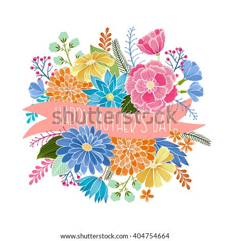 Happy Mothers Day vector floral card. Invitation, Save the date,  RSVP, Reception, Thank you, birthday, holiday card template with floral background. Isolated. - stock vector