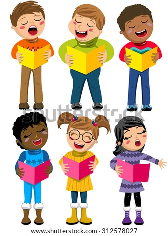 Happy multicultural kids or children standing and singing in a choir holding choir book isolated