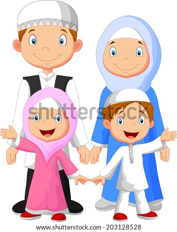 Happy Muslim family cartoon - stock vector