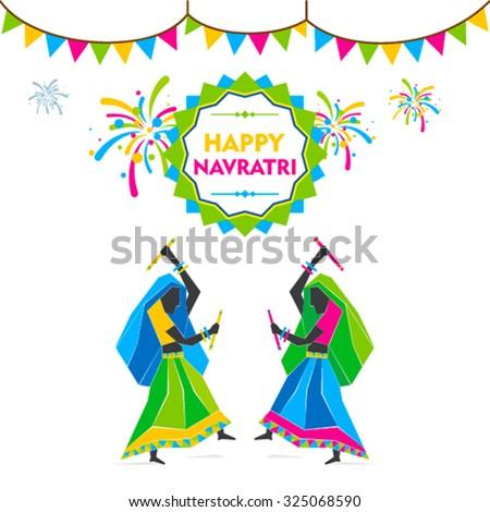 happy navratri festival , lady dancing garba design concept vector - stock vector
