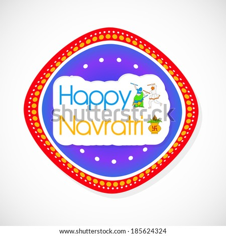 Happy Navratri text with dancing couple and kalash over rangoli for the occasion of Navratri - stock vector
