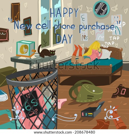 Happy new cell phone purchase day funny cartoon greeting card. For ui, web games, tablets, wallpapers, and patterns. - stock vector