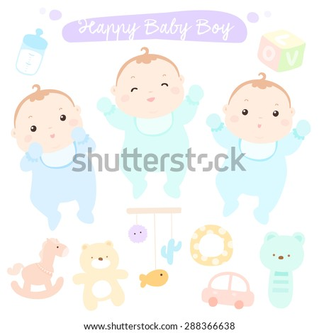 Happy new little cute baby boys vector illustration