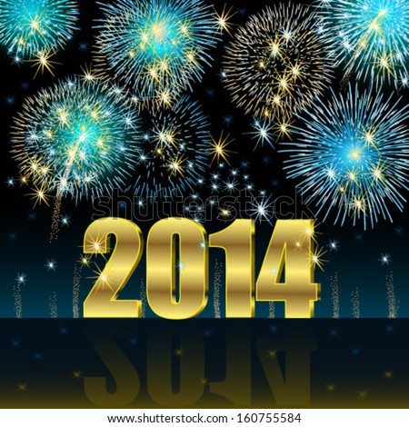 Happy New Year 2014 - stock vector