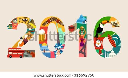 Happy New 2016 Year - stock vector