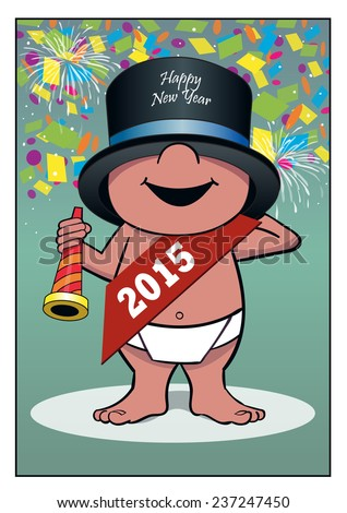 Happy New Year / A baby rings in the new year. - stock vector