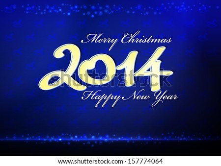 Happy New Year 2014 - a card of bright blue color - stock vector