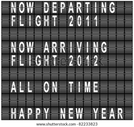 Happy New Year Airport Terminal Background - stock vector
