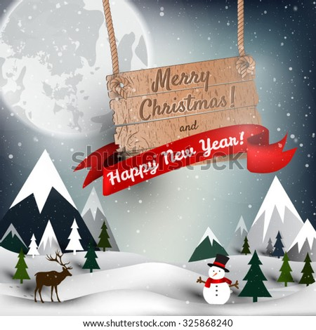 Happy New year an Mary Christmas background, vector card, party invitation - stock vector