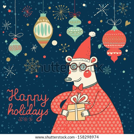 Happy New Year and Christmas card in vector. Funny bear in glasses with gift in cartoon style. Bright concept holiday background  - stock vector