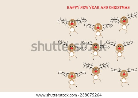 Happy New Year and Christmas.Funny dancing cartoon deer Santa.Christmas greeting card - stock vector