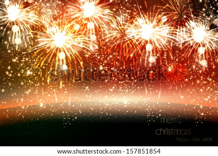 Happy New Year and Christmas vector celebration fireworks background, easy all editable - stock vector