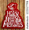 Happy New Year 2013 and Merry Christmas lettering label for Xmas design, bird, snowflake and red ribbon bow, woos background, eps10 vector illustration - stock photo