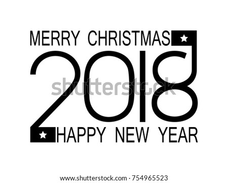 Happy New Year 2018 And Merry Christmas Numbers On A White Flat Background