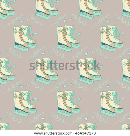 Happy New Year and Merry Christmas. seamless pattern. vector hand drawn background with skates