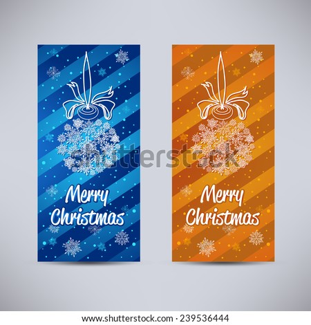 Happy New Year and Merry Christmas vector backgrounds blue and orange vertical set with Christmas toy or ball from snowflakes - stock vector
