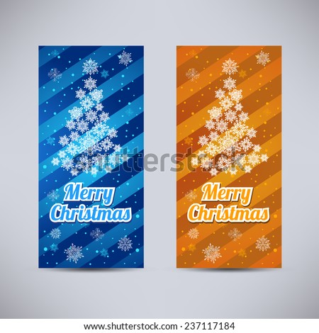 Happy New Year and Merry Christmas vector backgrounds blue and orange vertical set with fir-tree from snowflakes - stock vector