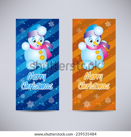 Happy New Year and Merry Christmas vector backgrounds blue and orange vertical set with snowman - stock vector