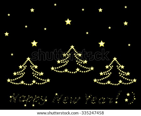 Happy New Year and Merry Christmas vector decorative background with shining decorated Christmas trees - stock vector