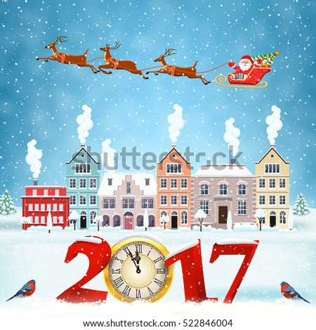 happy new year and merry Christmas winter old town street with trees. Santa Claus with deers in sky above the city. concept for greeting and postal card, invitation, template, 2017 with clock