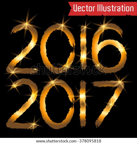 Happy new year 2016 and 2017 Text Design. Vector numbers.