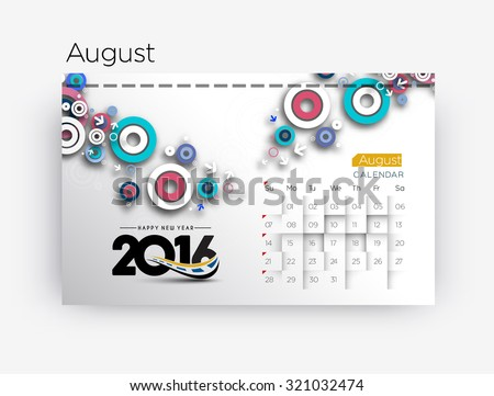 Happy new year 2016 August calendar design. - stock vector