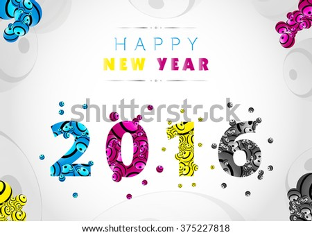 Happy New Year 2016 background - stock vector