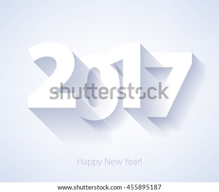 Happy New Year 2017 background. Calendar design typography vector illustration. Paper white design with shadows.