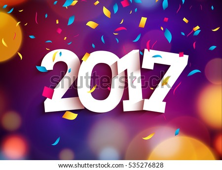 Happy New Year 2017 background decoration. Greeting card design template with confetti. Vector illustration of date 2017 year. Celebrate brochure or flyer.