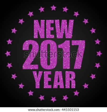 Happy New Year background for your card. Sparkle glitter background. Glittering pink sequins frame. Star. Eps10.