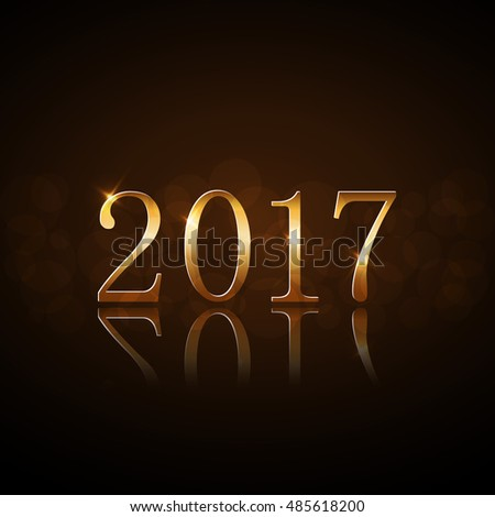 Happy New Year background. Gold numbers 2017 card. Christmas design with light, vibrant, glow and sparkle, glitter. Symbol of holiday, celebration. Luxury golden texture. Vector illustration