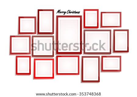 Happy New Year background, Set of red frames, blank for your copy - stock vector