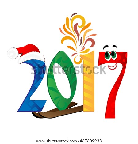 Happy New Year 2017 background. Vector illustration.