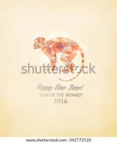 Happy New Year 2016 background with a monkey made out of polygons. Year of the Monkey concept. Vector. - stock vector