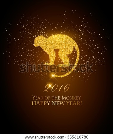 Happy New Year 2016 background with a monkey. Year of the Monkey concept. Vector - stock vector