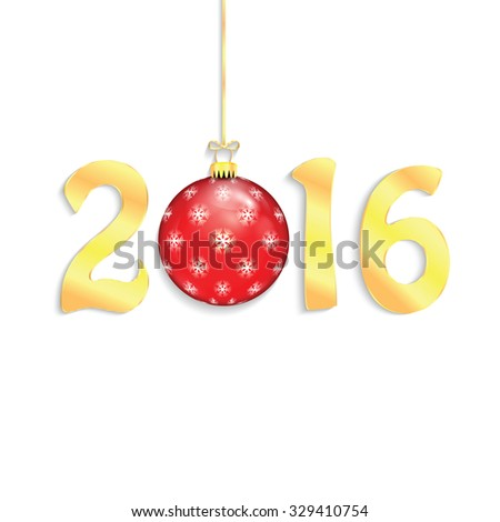 Happy new year background with Christmas bauble .New 2016 - stock vector