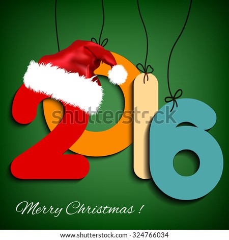 Happy New Year background 2016 with Christmas hat. Vector illustration. EPS