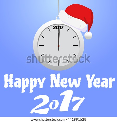 Happy New Year 2017 background with clock - stock vector