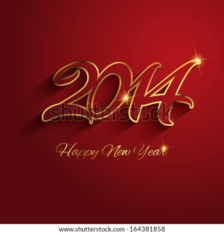 Happy New Year background with decorative text design - stock vector