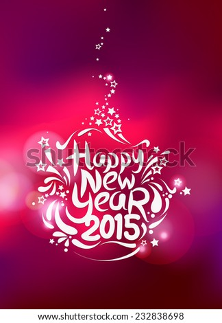Happy New Year background with floral shape and colorful bokeh  - stock vector