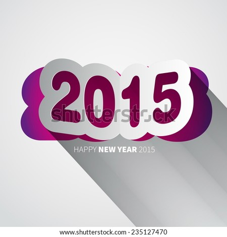 Happy New Year 2015 background with papercut year, vector illustration